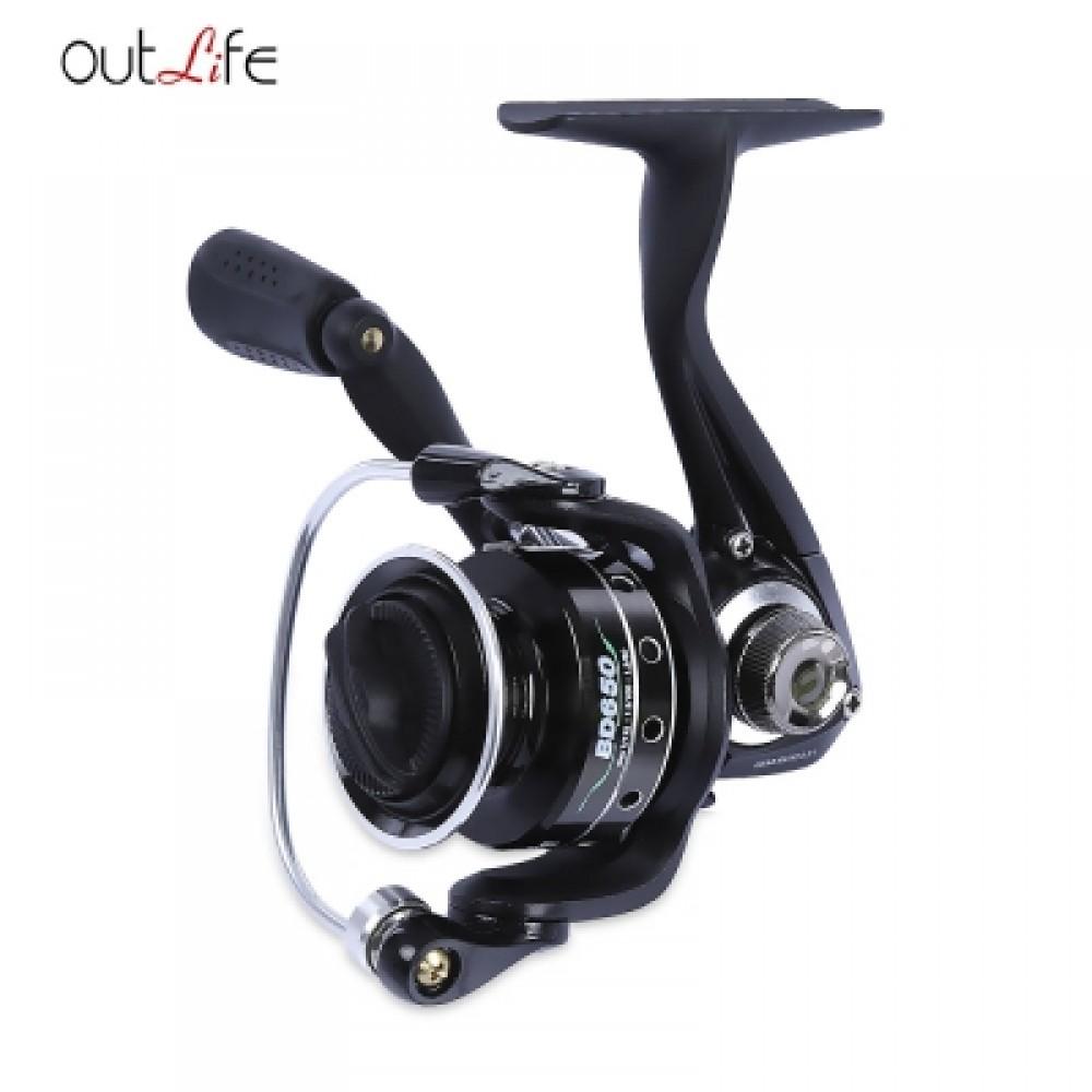 OUTLIFE 5 + 1 BALL BEARING METAL SPOOL SPINNING FISHING REEL (BLACK) BD500
