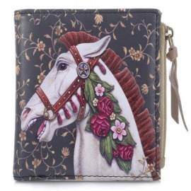 image of NICOLE BONNIE PU LEATHER LOVELY GRAFFITI WALLET CANDY COLOR PURSE (HORSE WITH FLOWERS) -