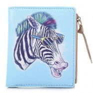 image of NICOLE BONNIE PU LEATHER LOVELY GRAFFITI WALLET CANDY COLOR PURSE (HORSE WITH GLASSES) -
