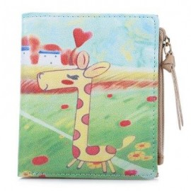 image of NICOLE BONNIE PU LEATHER LOVELY GRAFFITI WALLET CANDY COLOR PURSE (LITTLE FAWN) -