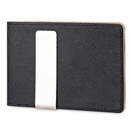 image of OPEN HORIZONTAL PU LEATHER SHORT HARD MONEY CLIP FOR MEN WOMEN (COFFEE) VERTICAL