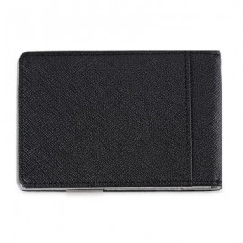 image of OPEN HORIZONTAL PU LEATHER SHORT HARD MONEY CLIP FOR MEN WOMEN (GRAY) VERTICAL