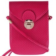 image of TRENDY PLAID SOLID LATCH DESIGN MINI BAGS FOR LADIES (DEEP RED) -