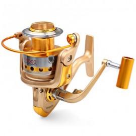 image of HF - 7000 METAL SPOOL SPINNING FISHING REEL FOLDING ARM 10-BALL BEARING 5.5 : 1 (CHAMPAGNE) 6000