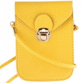 image of TRENDY PLAID SOLID LATCH DESIGN MINI BAGS FOR LADIES (YELLOW) -