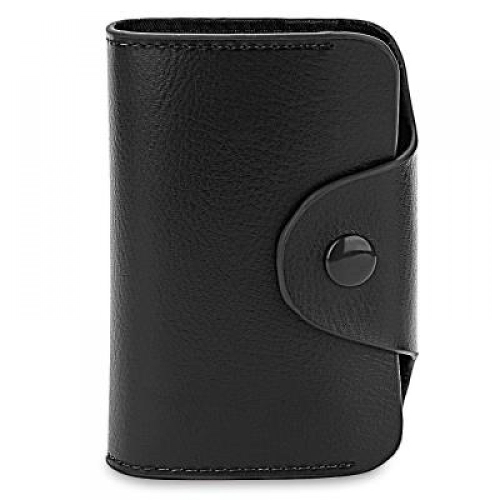 ACCORDION STYLE SNAP FASTENER CLOSURE LEATHER CARD HOLDER BAG (BLACK) -