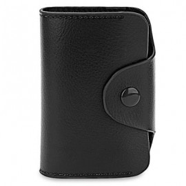 image of ACCORDION STYLE SNAP FASTENER CLOSURE LEATHER CARD HOLDER BAG (BLACK) -