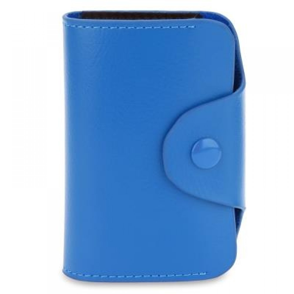 ACCORDION STYLE SNAP FASTENER CLOSURE LEATHER CARD HOLDER BAG (BLUE) -