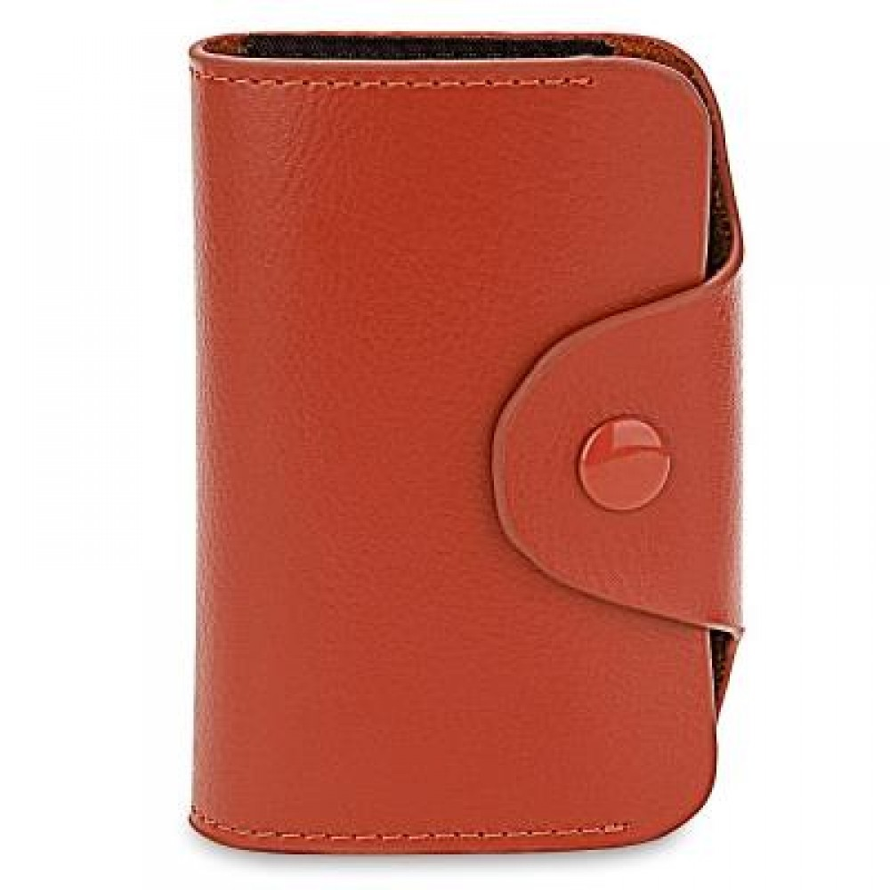 ACCORDION STYLE SNAP FASTENER CLOSURE LEATHER CARD HOLDER BAG (BROWN) -