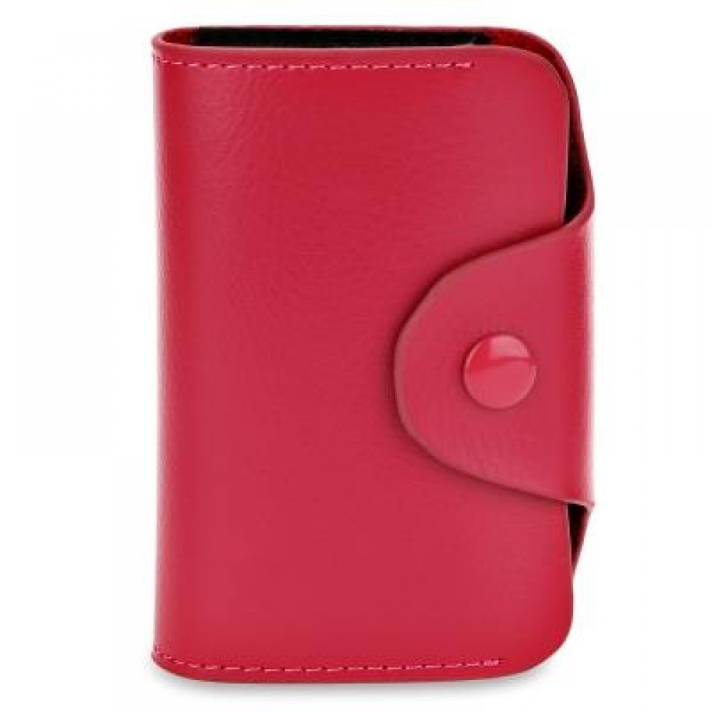 ACCORDION STYLE SNAP FASTENER CLOSURE LEATHER CARD HOLDER BAG (ROSE MADDER) -