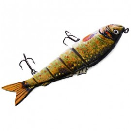 image of 5 JOINTED SECTIONS MULTI-JOINTED FISHING LURE HARD PLASTIC BAIT WITH TREBLE HOOKS (#4) -