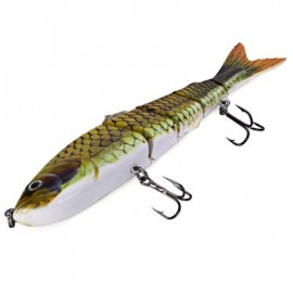 image of 5 JOINTED SECTIONS MULTI-JOINTED FISHING LURE HARD PLASTIC BAIT WITH TREBLE HOOKS (#3) -