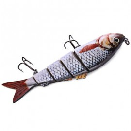 image of 5 JOINTED SECTIONS MULTI-JOINTED FISHING LURE HARD PLASTIC BAIT WITH TREBLE HOOKS (#1) -
