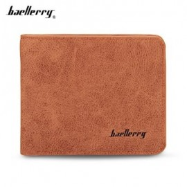 image of BAELLERRY SOLID COLOR LETTER OPEN SHORT HORIZONTAL MEN WALLET (LIGHT COFFEE) HORIZONTAL