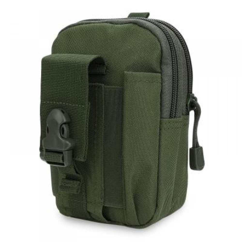 WATER RESISTANT ZIPPER BUCKLE OUTDOOR ACTIVITY SPORT CELL PHONE WAIST BAG FOR UNISEX (ARMY GREEN) VERTICAL