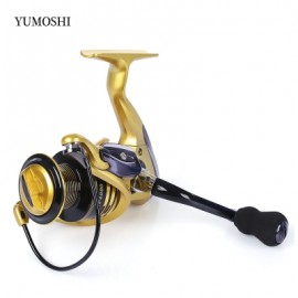 image of YUMOSHI 13 + 1BB METAL SPINNING REEL FISHING TACKLE WITH FOLDABLE HANDLE (GOLDEN) XF5000