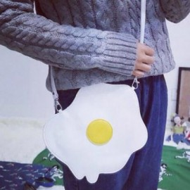 image of STYLISH STITCHING AND FRIED EGG PATTERN DESIGN WOMEN'S CROSSBODY BAG 24*1*22