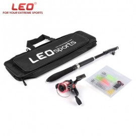 image of LEO 1.6M TELESCOPIC FISHING ROD SET WITH FISH REEL HOOK LURE TACKLE ACCESSORY (COLORMIX) -