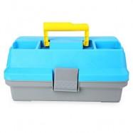 image of 3 LAYER MULTIFUNCTIONAL CARP FLY FISHING TACKLE PLASTIC HANDLE BOX (BLUE) -