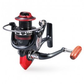 image of LK3000 ALUMINUM 12+1 BB BALL BEARING FISHING SPINNING REEL HIGH SPEED 5.2:1 (BLACK AND RED) -