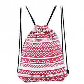 image of ETHNIC STRIPED GEOMETRIC PRINT ROPE CANVAS BACKPACK FOR WOMEN (RED) 32.90 x 0.50 x 41.00 cm
