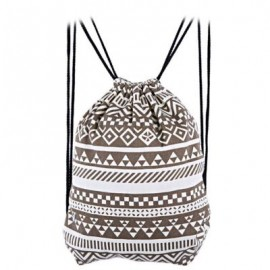 image of ETHNIC STRIPED GEOMETRIC PRINT ROPE CANVAS BACKPACK FOR WOMEN (BROWN) 32.90 x 0.50 x 41.00 cm