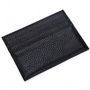 image of ROUND ELEPHANT LICHEE PATTERN SOLID COLOR OPEN HORIZONTAL CARD WALLET FOR MEN WOMEN (BLACK) 7.2 x 0.3 x 10.2 cm