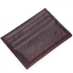 ROUND ELEPHANT LICHEE PATTERN SOLID COLOR OPEN HORIZONTAL CARD WALLET FOR MEN WOMEN (COFFEE) 7.2 x 0.3 x 10.2 cm
