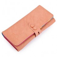 image of CANDY COLOR LETTER HOLLOW STRAP TWO SNAP FASTENERS VERTICAL WALLET FOR WOMEN (LIGHT PINK) 9.20 x 3.80 x 19.10 cm