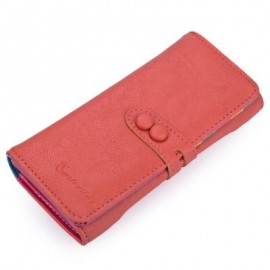 image of CANDY COLOR LETTER HOLLOW STRAP TWO SNAP FASTENERS VERTICAL WALLET FOR WOMEN (RED) 9.20 x 3.80 x 19.10 cm