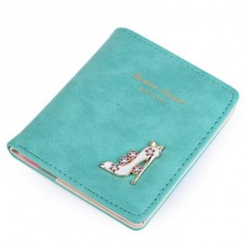 image of HIGH HEELED SHOES FLOWER LETTER RHINESTONE SOLID COLOR HASP SHORT WALLET FOR LADY (BLUE) 9.50 x 1.80 x 11.10 cm