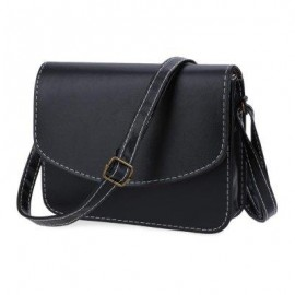 image of MINI WOMEN SHOULDER BAG IMITATION LEATHER MESSENGER PACKET SATCHEL HANDBAGS (BLACK) HORIZONTAL