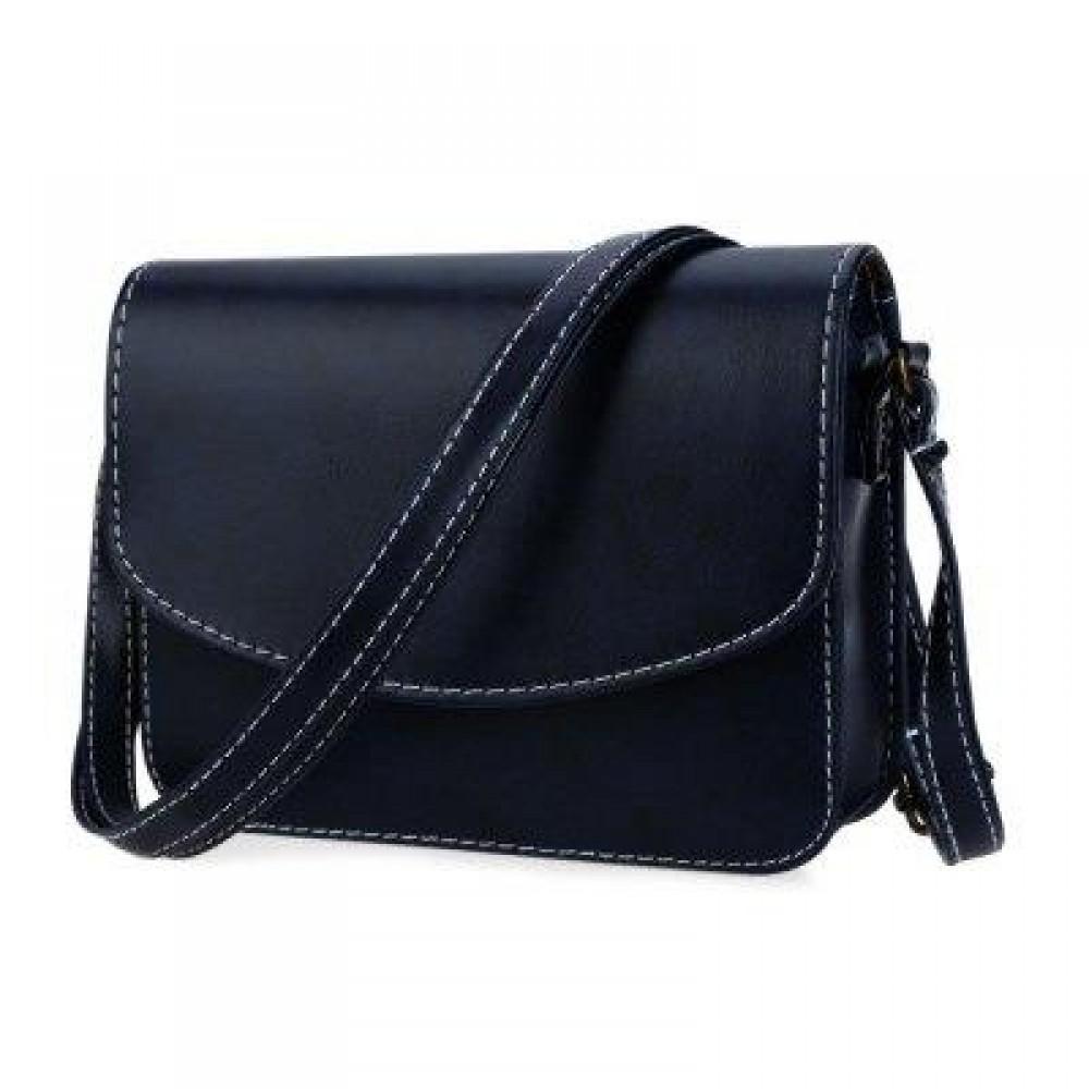 MINI WOMEN SHOULDER BAG IMITATION LEATHER MESSENGER PACKET SATCHEL HANDBAGS (BLUE) HORIZONTAL