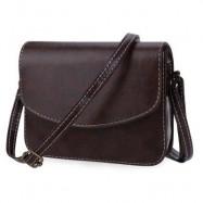 image of MINI WOMEN SHOULDER BAG IMITATION LEATHER MESSENGER PACKET SATCHEL HANDBAGS (DEEP BROWN) HORIZONTAL