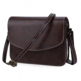 image of MINI WOMEN SHOULDER BAG IMITATION LEATHER MESSENGER PACKET SATCHEL HANDBAGS (DEEP BROWN) HORIZONTAL