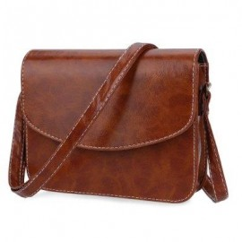 image of MINI WOMEN SHOULDER BAG IMITATION LEATHER MESSENGER PACKET SATCHEL HANDBAGS (LIGHT BROWN) HORIZONTAL