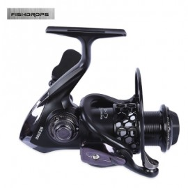 image of FISHDROPS HOLLOW-OUT SPINNING REEL FISHING TACKLE LURE WITH EXCHANGEABLE HANDLE (BLACK) BE3000