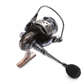 image of LIEYUWANG 13 + 1BB METAL FLORAL PATTERN SPINNING REEL FISHING TACKLE WITH FOLDABLE HANDLE (AMBER) HA6000
