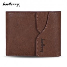 image of BAELLERRY MEN COIN POCKET PU LEATHER SHORT WALLET CARD HOLDER (LIGHT COFFEE) -