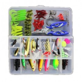 image of 101PCS BIONIC LURE FISHING MINNOW CRANK SPOON SOFT HARD BAIT SPINNER HOOK TACKLE (COLORMIX) 0