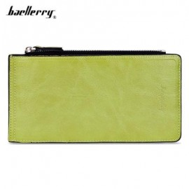 image of BAELLERRY SOLID COLOR ZIPPER HASP DESIGN VERTICAL THIN LONG WALLET FOR MEN WOMEN (GREEN) -