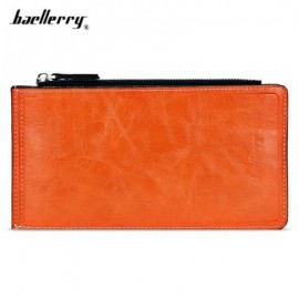 image of BAELLERRY SOLID COLOR ZIPPER HASP DESIGN VERTICAL THIN LONG WALLET FOR MEN WOMEN (ORANGE) -