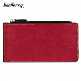 image of BAELLERRY SOLID COLOR ZIPPER HASP DESIGN VERTICAL THIN LONG WALLET FOR MEN WOMEN (RED) -
