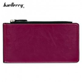 image of BAELLERRY SOLID COLOR ZIPPER HASP DESIGN VERTICAL THIN LONG WALLET FOR MEN WOMEN (PURPLE) -