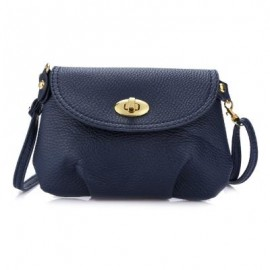 image of GUAPABIEN RUFFLE TWIST LOCK DETACHABLE STRAP SHOULDER MESSENGER MINI BAG (DEEP BLUE) HORIZONTAL
