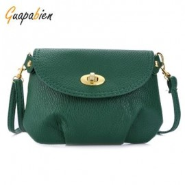 image of GUAPABIEN RUFFLE TWIST LOCK DETACHABLE STRAP SHOULDER MESSENGER MINI BAG (GREEN) HORIZONTAL