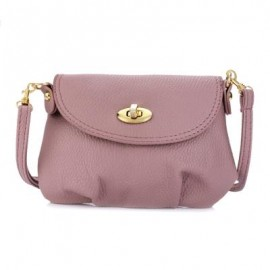 image of GUAPABIEN RUFFLE TWIST LOCK DETACHABLE STRAP SHOULDER MESSENGER MINI BAG (PINK) HORIZONTAL