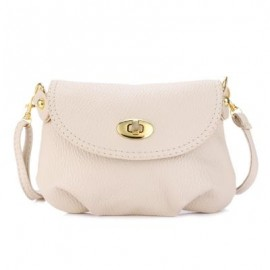 image of GUAPABIEN RUFFLE TWIST LOCK DETACHABLE STRAP SHOULDER MESSENGER MINI BAG (APRICOT) HORIZONTAL