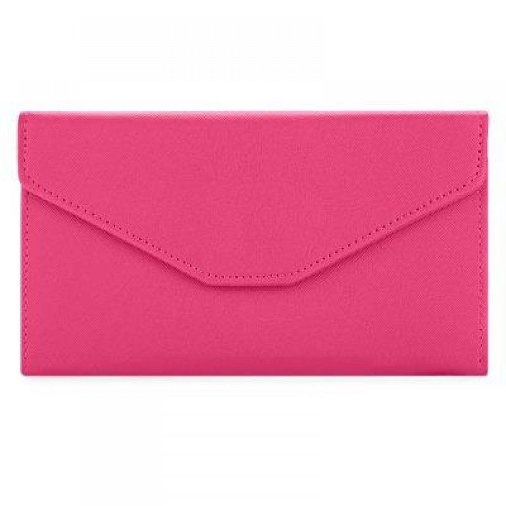 GUAPABIEN SOLID COLOR SNAP FASTENER CELL PHONE ENVELOPE CLUTCH WALLET (ROSE RED) -