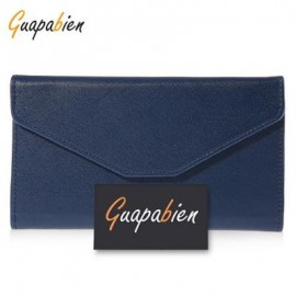image of GUAPABIEN SOLID COLOR SNAP FASTENER CELL PHONE ENVELOPE CLUTCH WALLET (DEEP BLUE) -